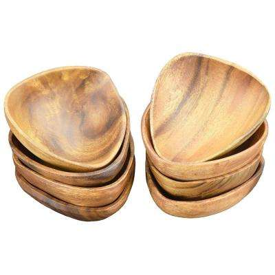 6 in. 8-Piece Wooden 3-Sided Dip and Nut Bowl Set