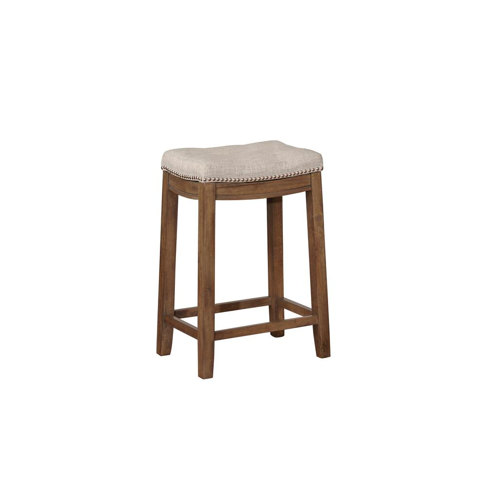 Linon Home Decor Claridge 24 In Gray And Rustic Backless Counter Stool