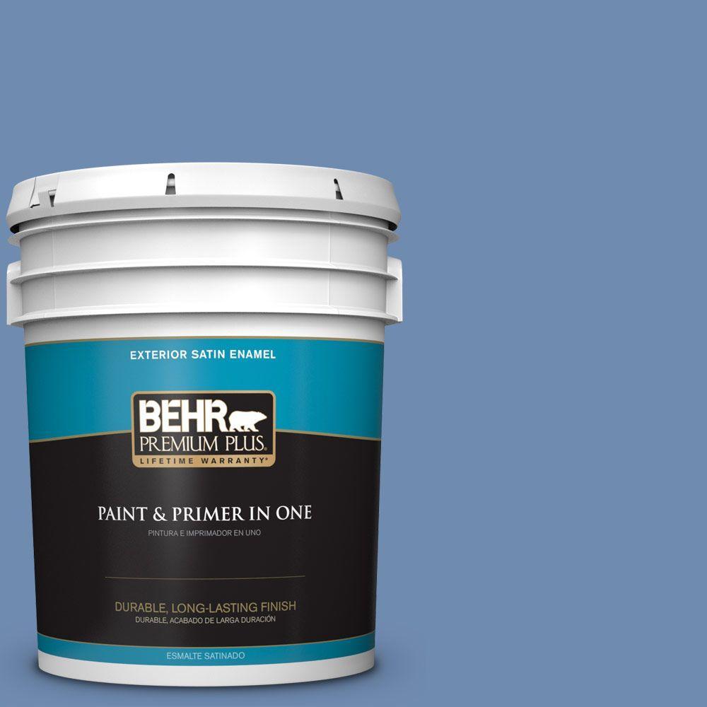 BEHR Premium Plus 5-gal. #590D-5 Windsurf Blue Satin Enamel Exterior Paint
