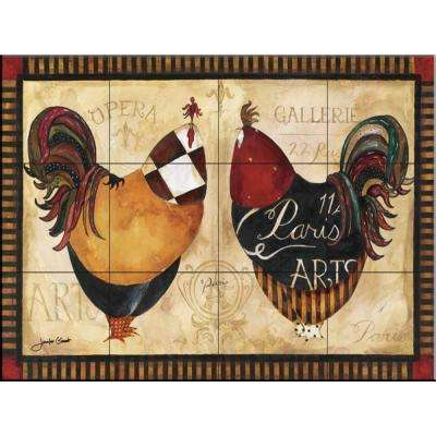 Roosters de Paris I 17 in. x 12-3/4 in. Ceramic Mural Wall Tile