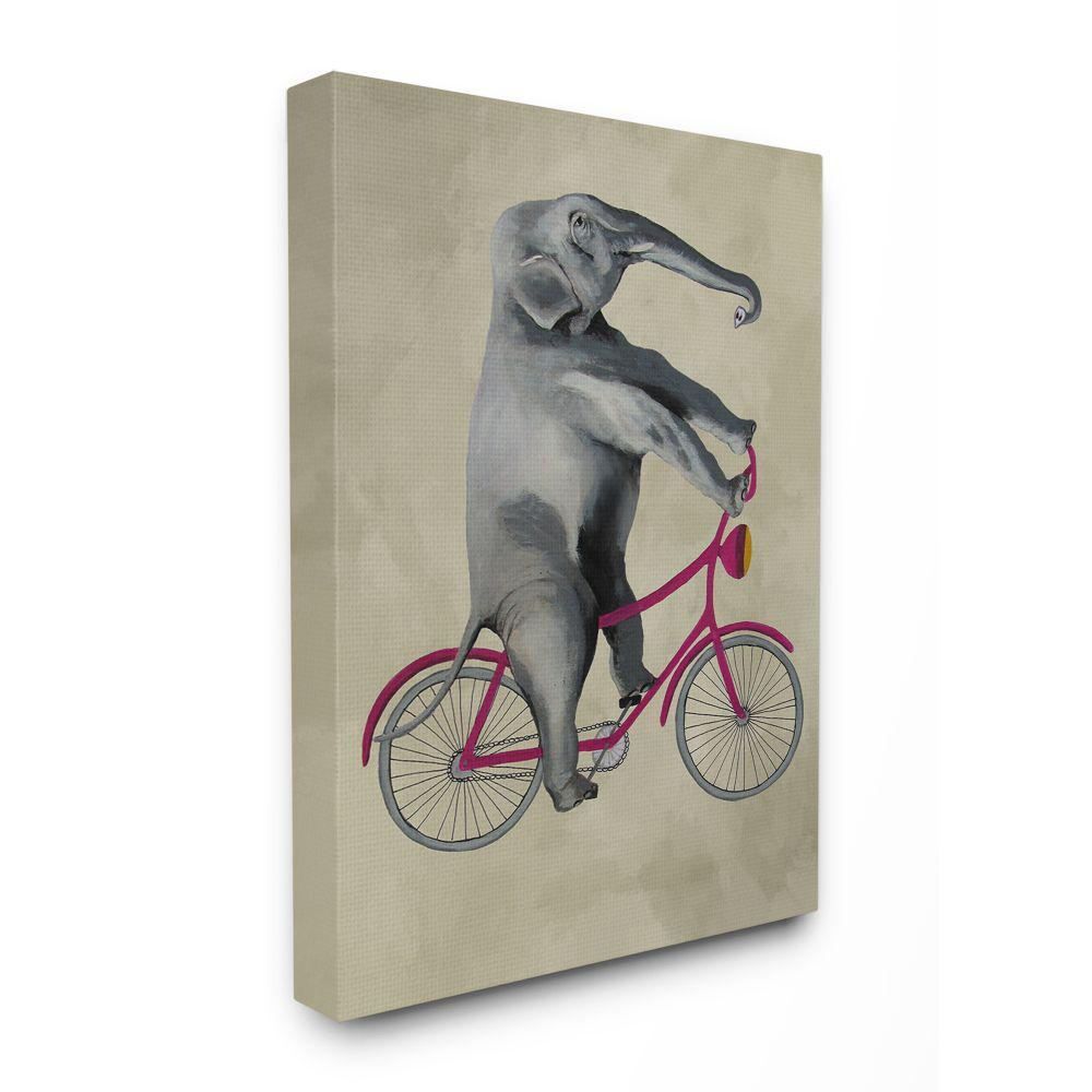 The Stupell Home Decor Collection 30 In X 40 In Elephant On A Bicycle By Coco De Paris Canvas Wall Art Cdp 108 Cn 30x40 The Home Depot