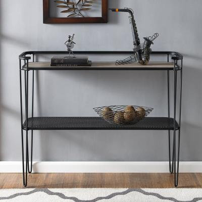 42 in. Grey Wash Industrial Wood Entryway Table with Lower Mesh Shelf