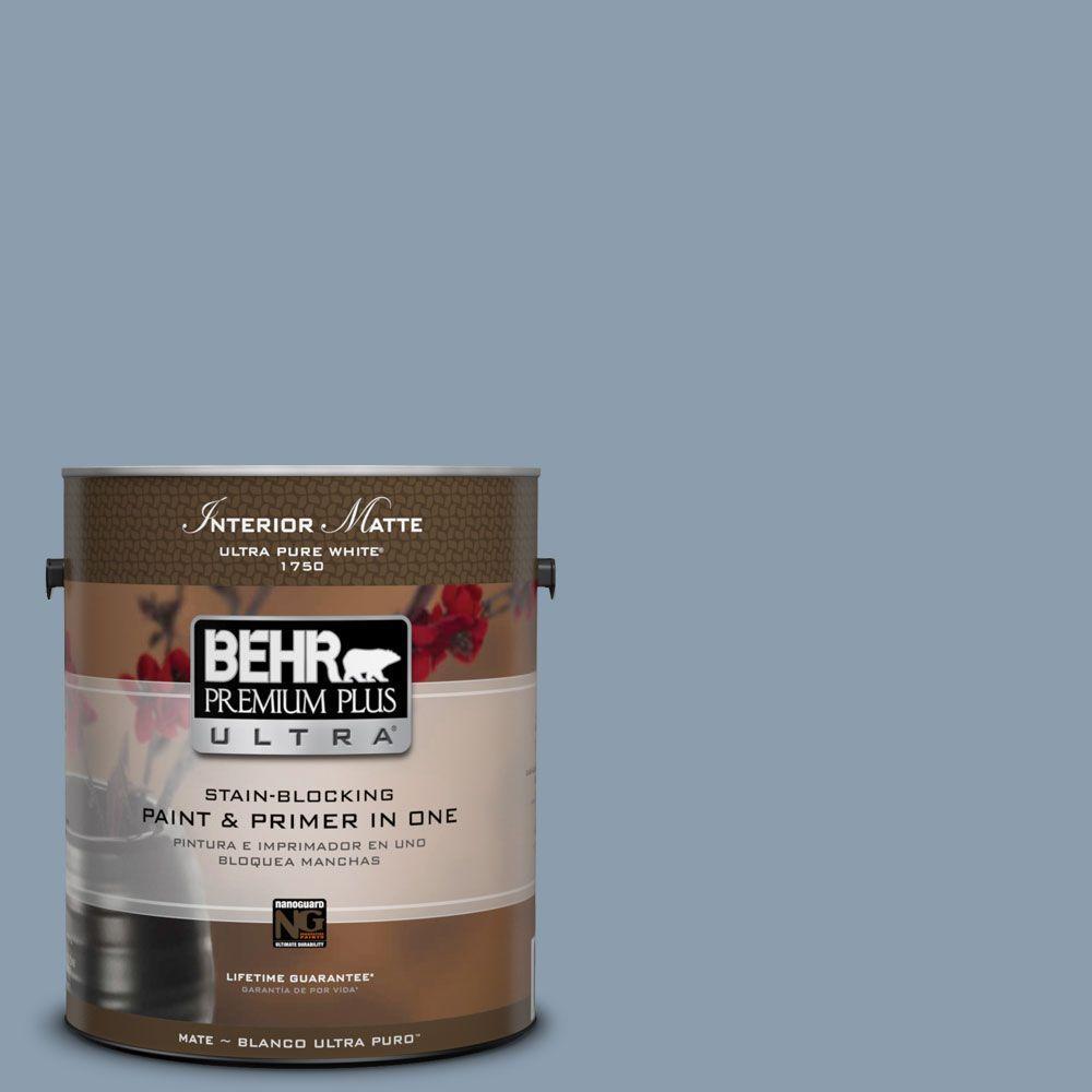 BEHR Premium Plus Ultra 1 gal. #ICC-65 Relaxing Blue Flat/Matte Interior Paint