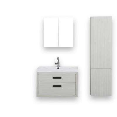 31.5 in. W x 19.4 in. H Bath Vanity in Gray with Resin Vanity Top in White with White Basin and Mirror