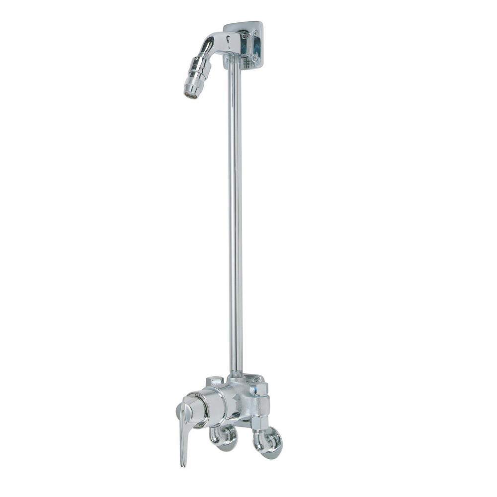 Safetymix Single-Handle 1-Spray Shower Faucet with Exposed Pipe in ...