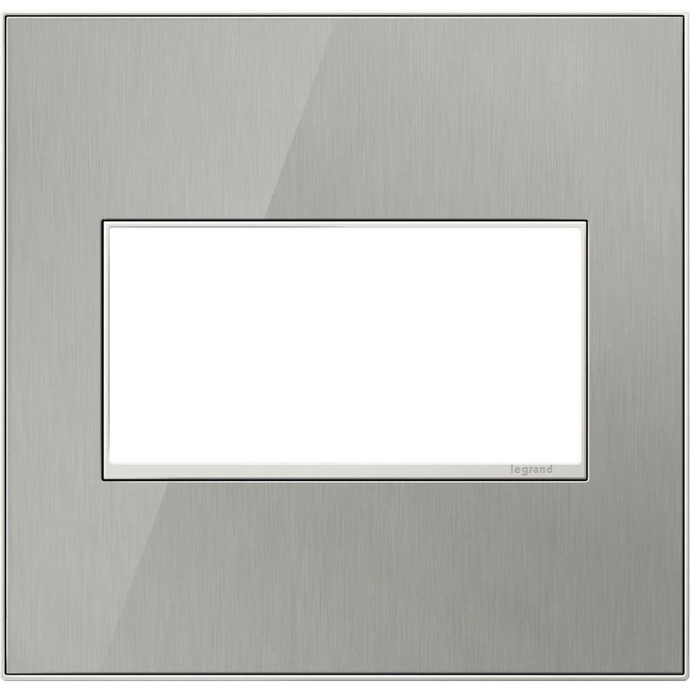 2-Gang 2 Module Wall Plate, Brushed Stainless