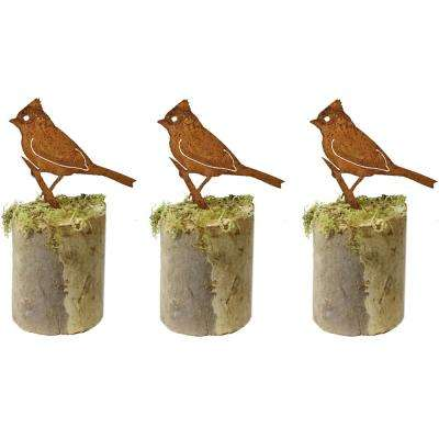 5 in. Tall Metal Rustic Look Artwork Titmouse Silhouettes (Set of 3)