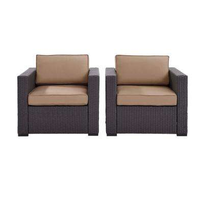 Biscayne 2 Piece Wicker Outdoor Seating Set with Mocha Cushions