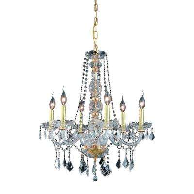 6-Light Gold Chandelier with Clear Crystal