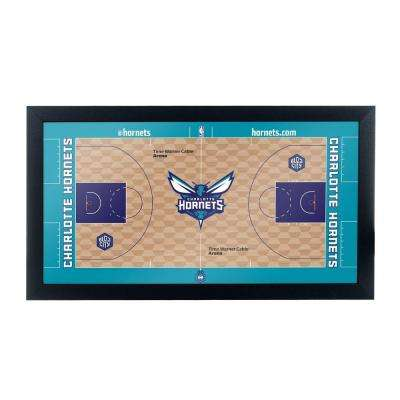 Charlotte Hornets Official NBA Court 15 in. x 26 in. Black Framed Plaque