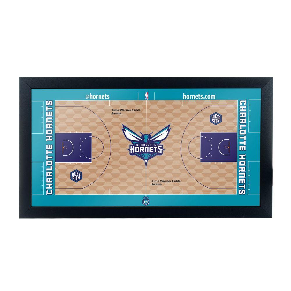 Charlotte Hornets Official NBA Court 15 in. x 26 in. Black Framed Plaque