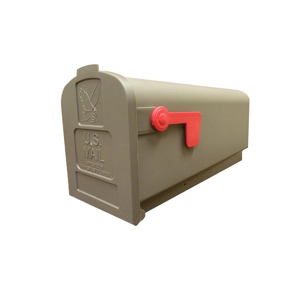 Gibraltar Mailboxes Fully Assembled Plastic Post Mount Mailbox in Weather Wood