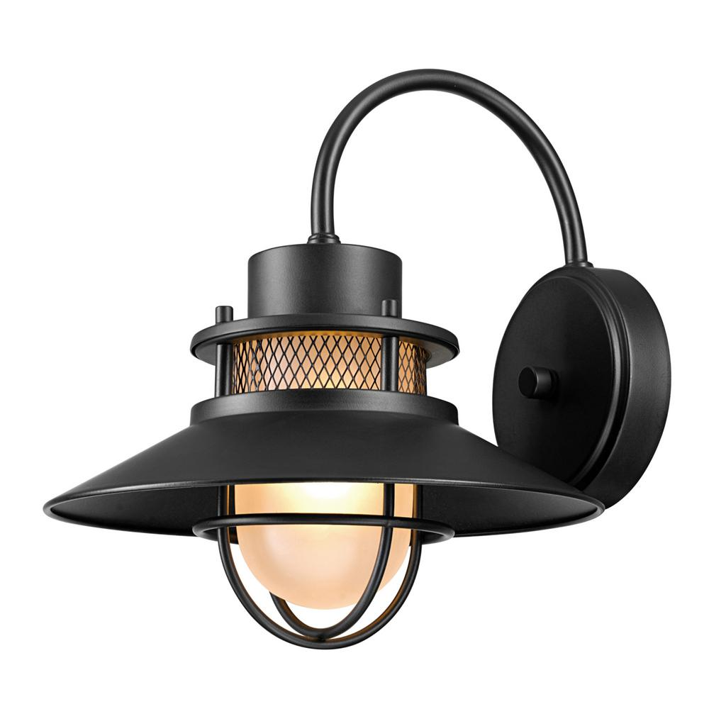 Globe Electric Liam 1 Light Matte Black Outdoor Wall