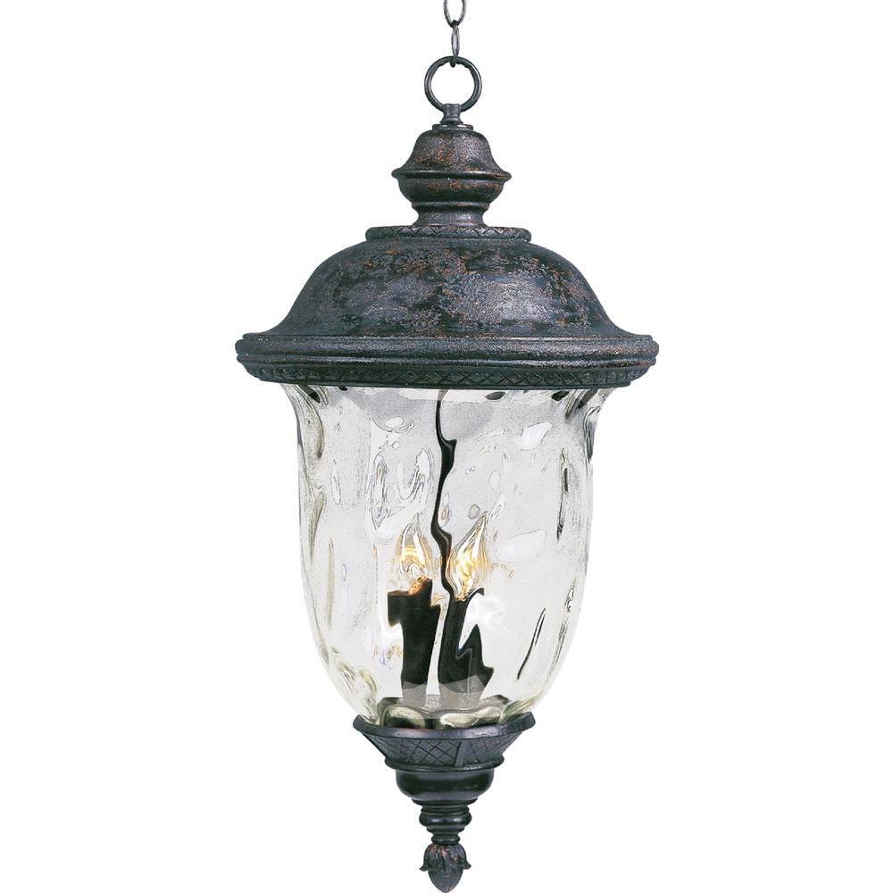 Maxim lighting carriage house vivex 3 light oriental bronze outdoor hanging lantern