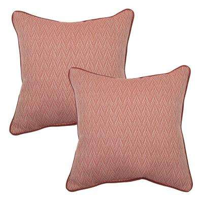 18 in. Red Chevron Outdoor Toss Pillow with Welt (2-Pack)