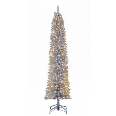 7 ft. Pencil Artificial Tree in Silver with Warm White LED Lights