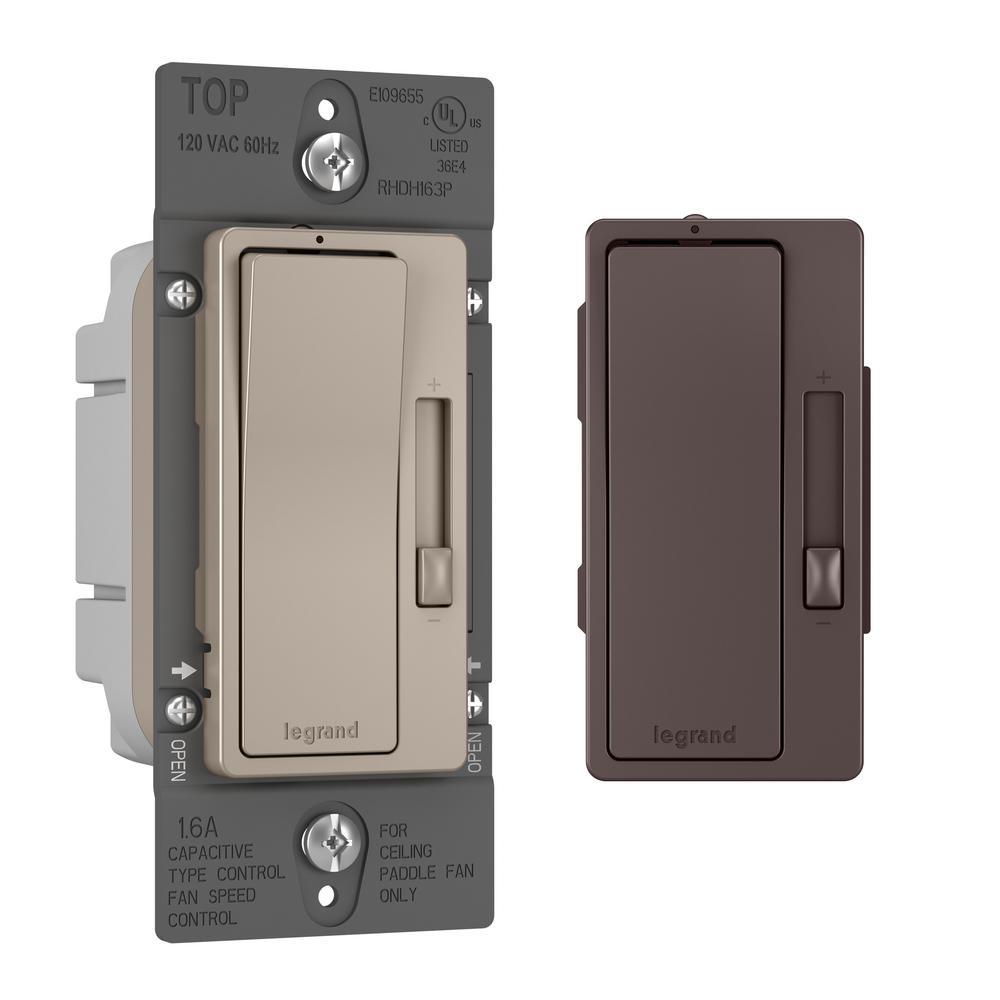 radiant 1.6 Amp Single Pole/3-Way De-Hummer Fan Control, Nickel/Dark Bronze