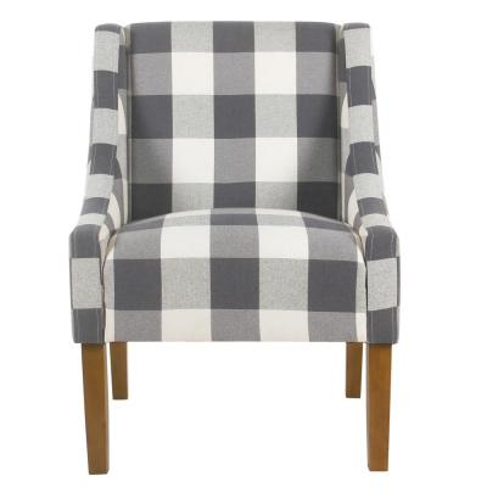 Blue Buffalo Plaid Modern Swoop Arm Accent Chair