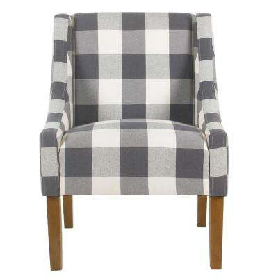 Blue Buffalo Plaid Modern Swoop Arm Accent Chair