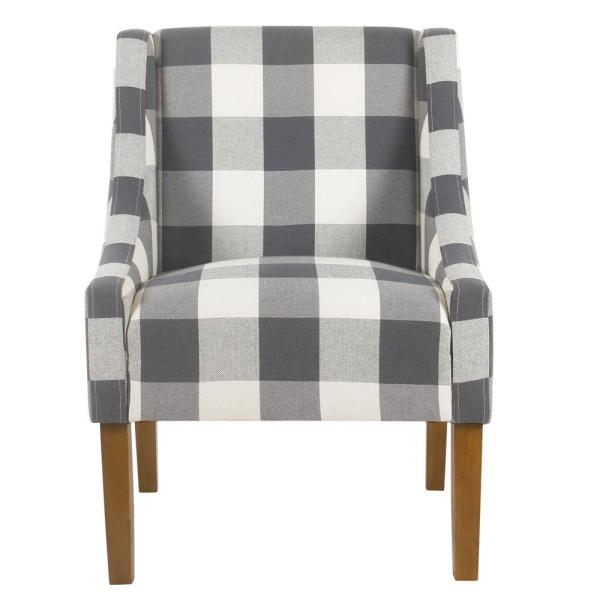 Homepop Blue Buffalo Plaid Modern Swoop Arm Accent Chair ...