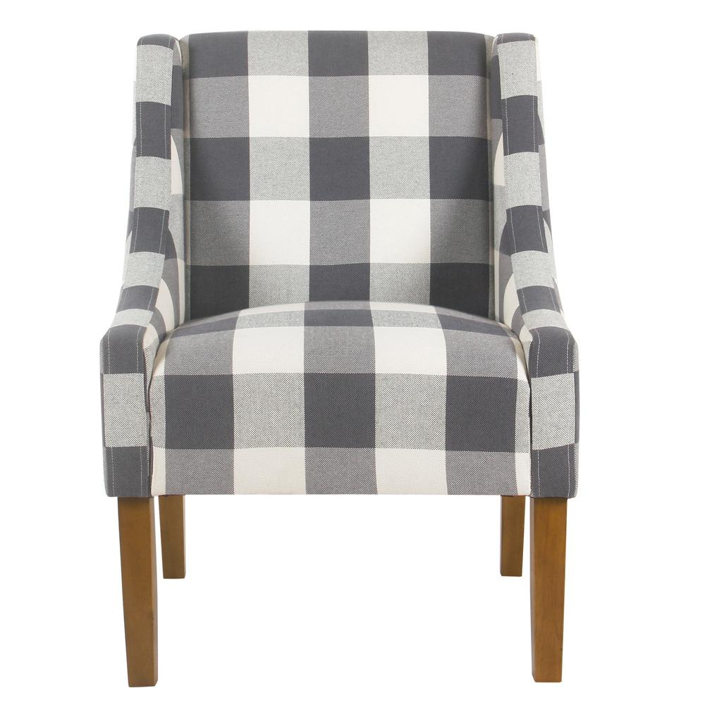 Homepop Homepop Blue Buffalo Plaid Modern Swoop Arm Accent Chair, Blue Plaid