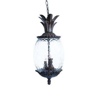 Lanai Collection 3-Light Black Coral Outdoor Hanging Light Fixture