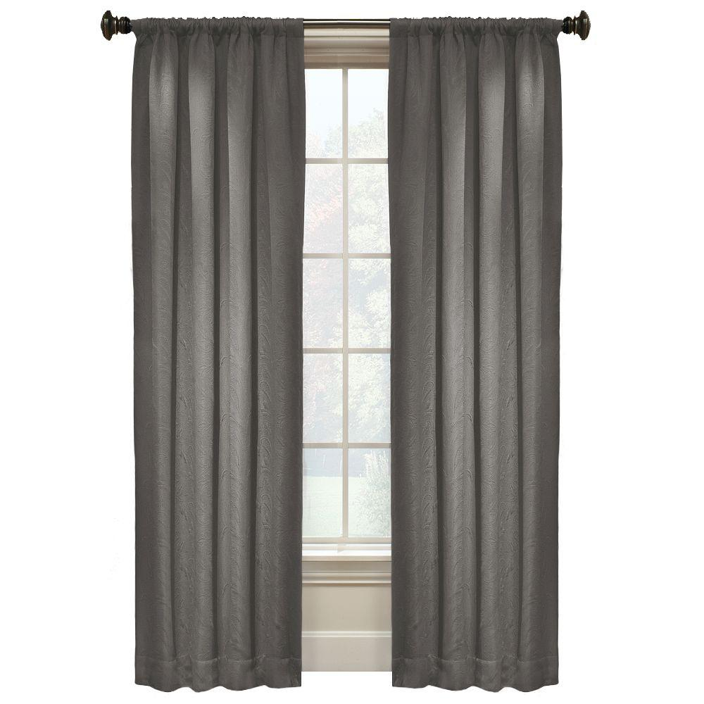 Matte Paisley 84 In. L Grey Rod Pocket Curtain-WPN7678