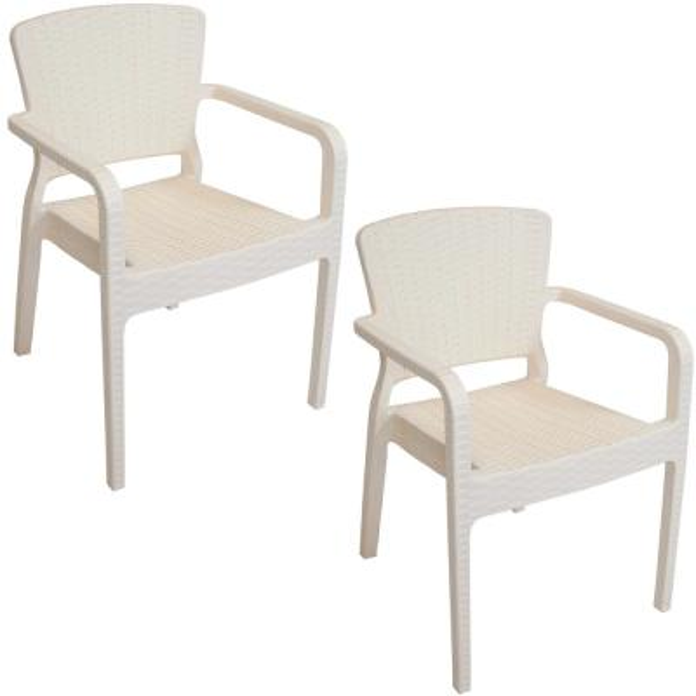 Segonia Cream Stacking Plastic Indoor/Outdoor Arm Chair (Set of 2)