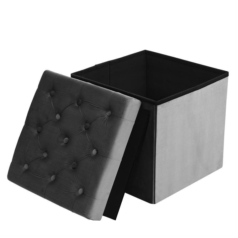 Remarkable Poly And Bark Lauren Grey Velvet Cube Storage Ottoman Hd 360 Ncnpc Chair Design For Home Ncnpcorg