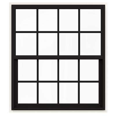 48 in. x 60 in. V-4500 Series Black Painted Single-Hung Vinyl Window with 8-Lite Colonial Grids/Grilles