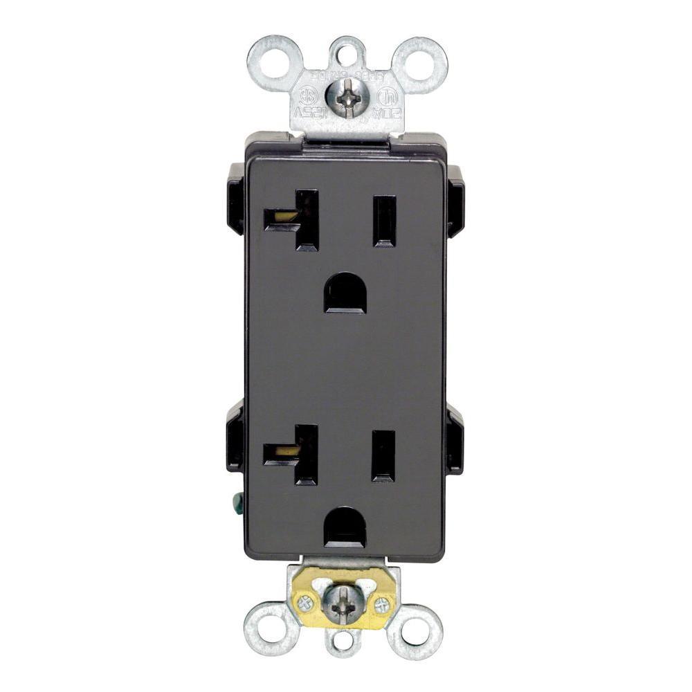 Leviton Decora Plus 20 Amp Industrial Grade Duplex Outlet, Black