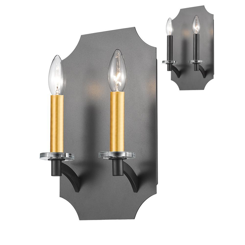 Aron 2-Light Bronze Wall Sconce