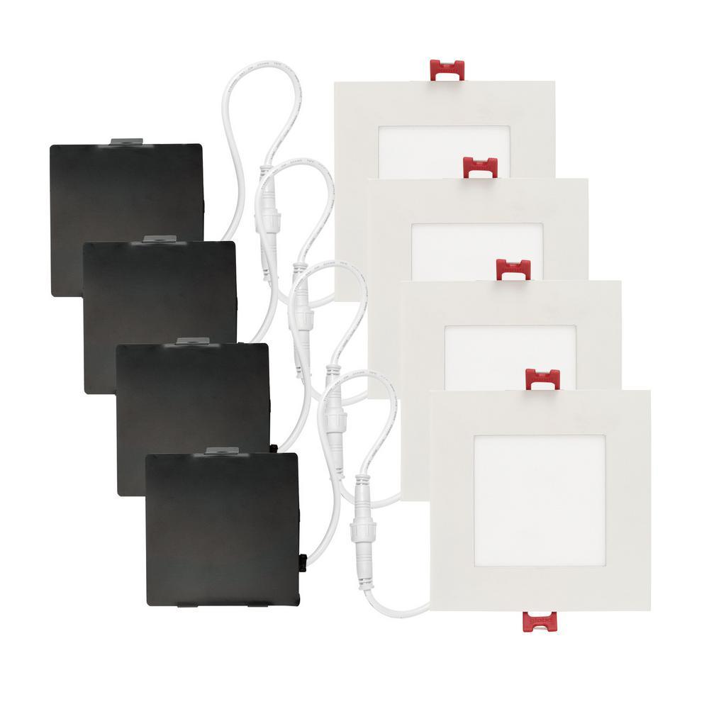 Slimline Square 4 in. White Integrated LED Recessed Kit (4-Pack)