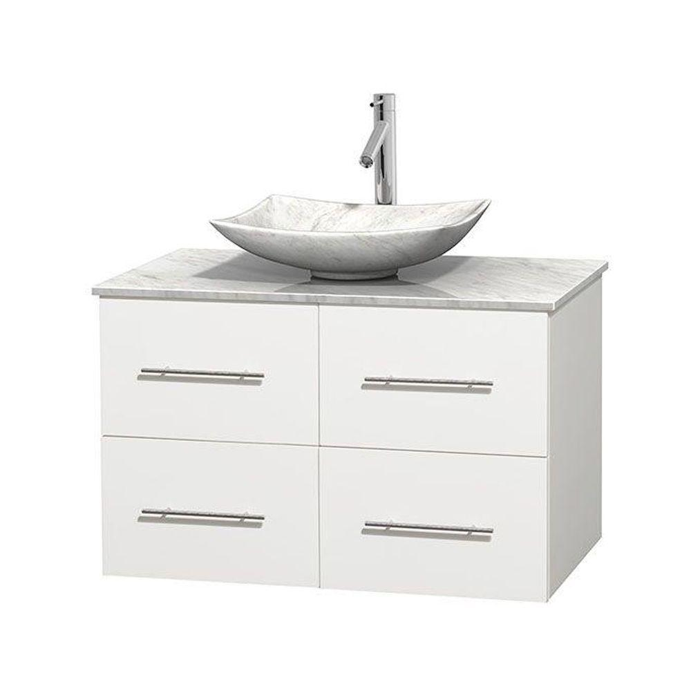 Wyndham Collection Centra 36 in. Vanity in White with Marble Vanity Top in Carrara White and Sink