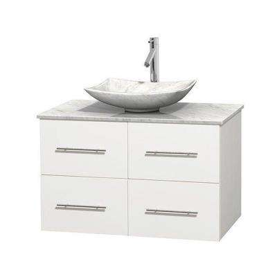 Centra 36 in. Vanity in White with Marble Vanity Top in Carrara White and Sink