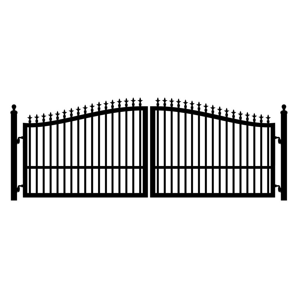 Mighty Mule St. Augustine 12 ft. W x 5 ft. H Powder Coated Steel Dual Driveway Fence Gate
