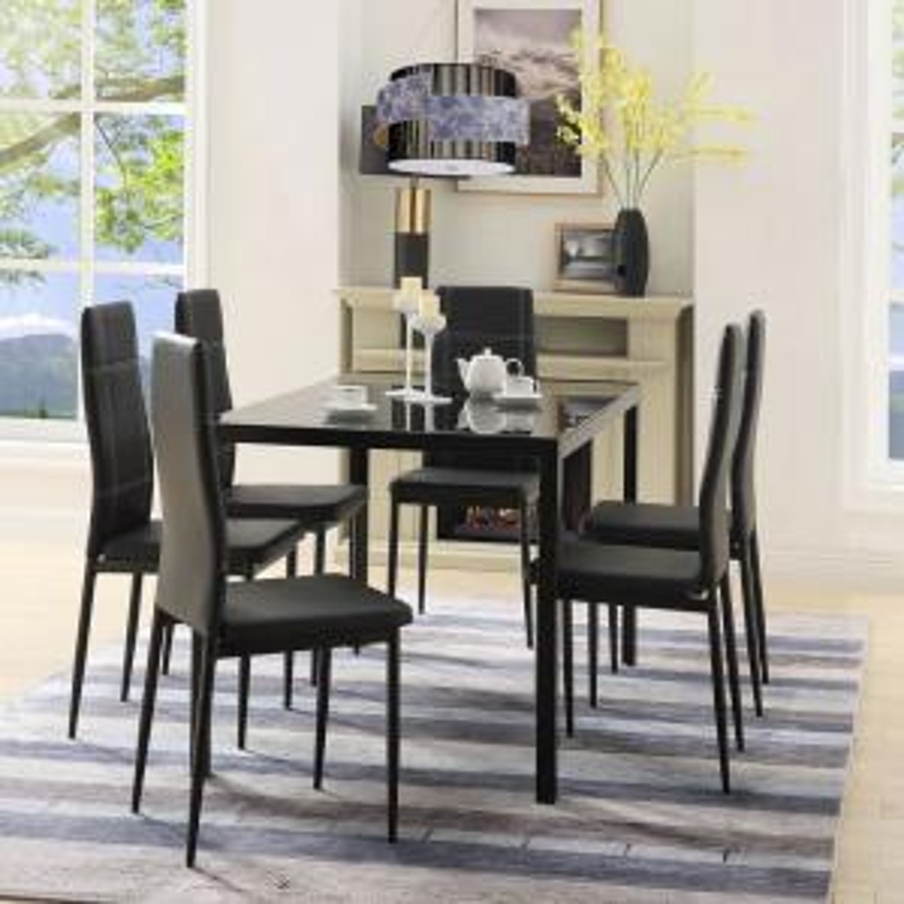 Harper & Bright Designs 7-Piece Black Dining Set Glass Top ...