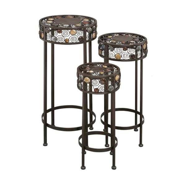 Litton Lane New Traditional Bead and Scrollwork Plant Stand (Set of