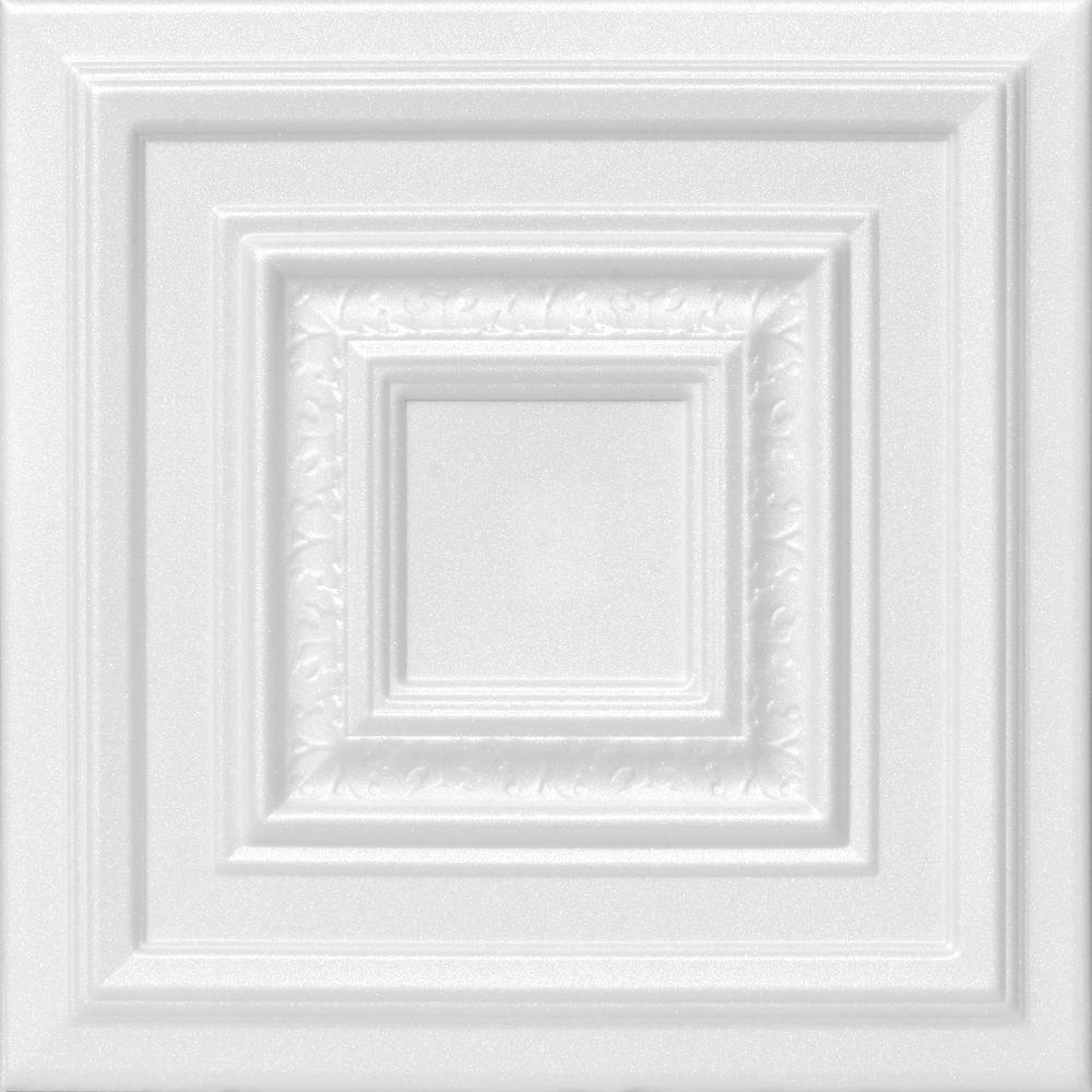 Chestnut Grove 1.6 ft. x 1.6 ft. Foam Glue-up Ceiling Tile in Plain White