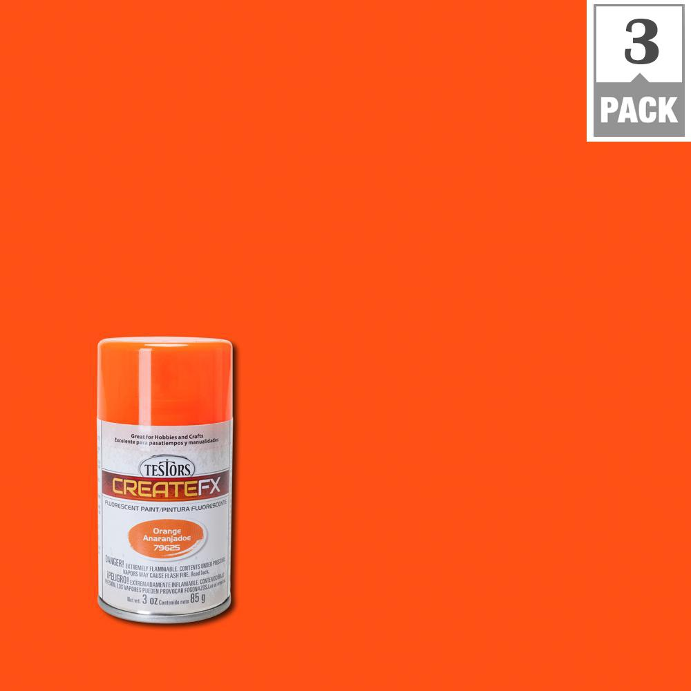 Testors Createfx 3 Oz Fluorescent Orange Spray Paint 3 Pack 79625