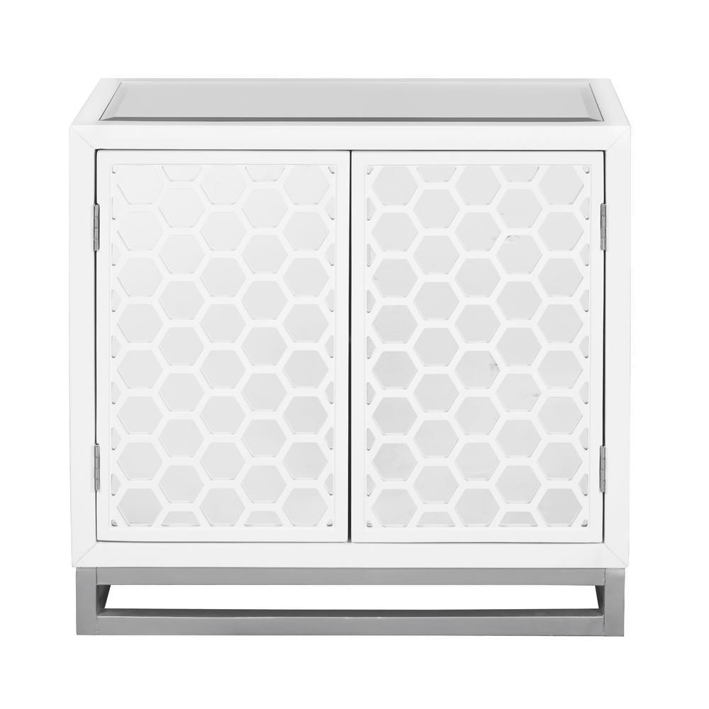 HomeFare Homefare White 2-Door Mirror Honeycomb Chest DS-D204-044
