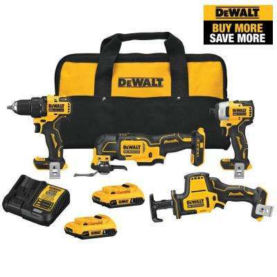 ATOMIC 20-Volt Lithium-Ion Combo Kit (4-Tool) with Two 2.0 Ah Batteries and Charger