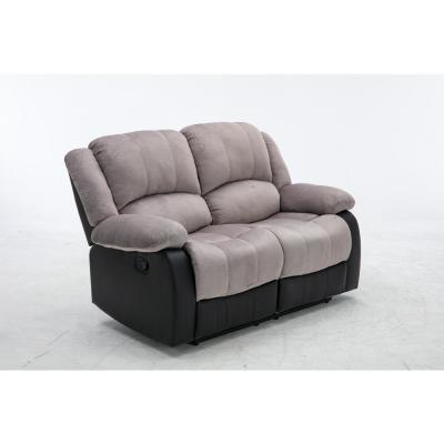 62 in. Gray Microfiber 2-Seater Reclining Loveseat with Round Arms