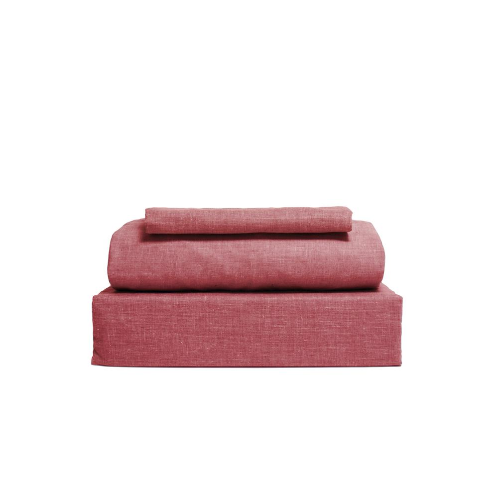 Chambray 3-Piece Red Cotton/Polyester Twin Sheet Set