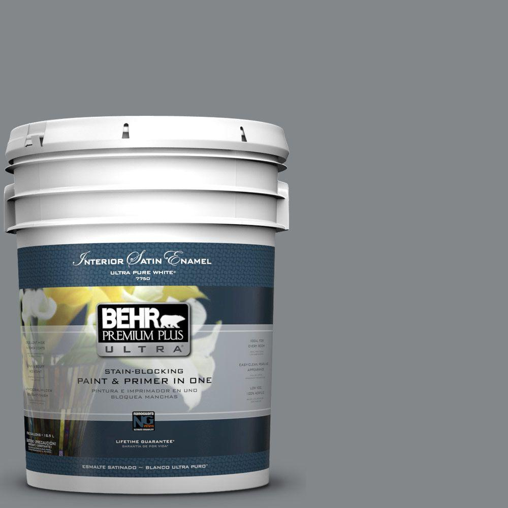 5 gal. #N500-5 Magnetic Gray Color Satin Enamel Interior Paint