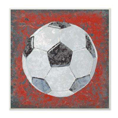"12 in. x 12 in."" Grunge Sports Equipment Soccer "" by Studio W Printed Wood Wall Art"