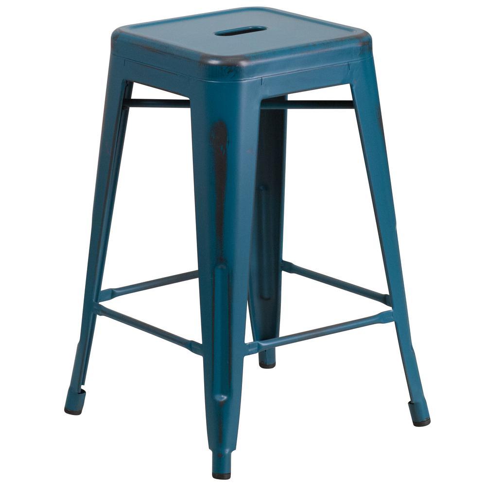 Charming Flash Furniture 24 In. Distressed Blue Bar Stool