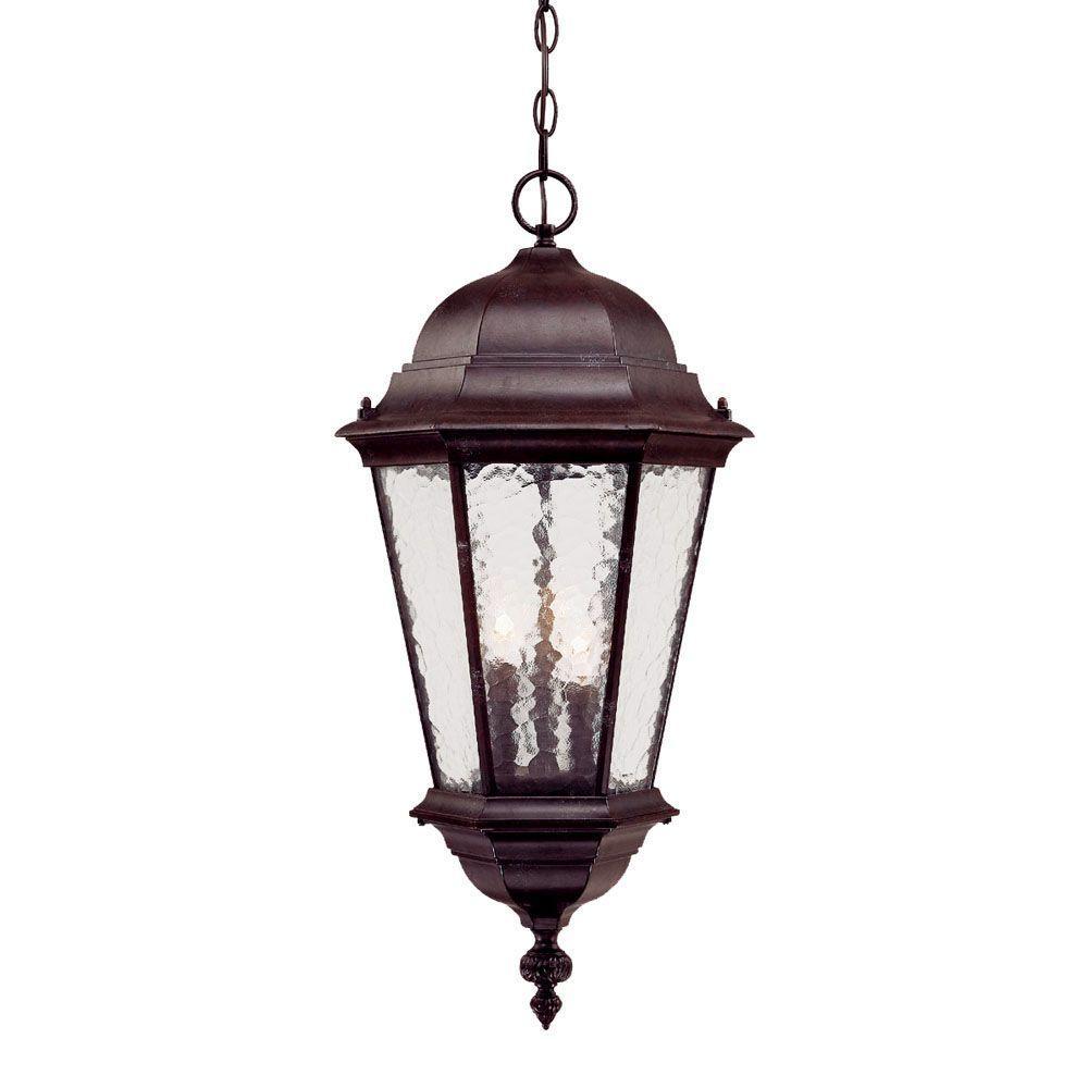 Acclaim Lighting Telfair Collection 3-Light Marbleized Mahogany Outdoor Hanging Light Fixture