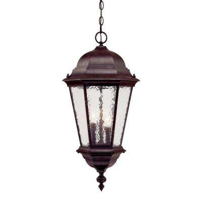 Telfair Collection 3-Light Marbleized Mahogany Outdoor Hanging Light Fixture