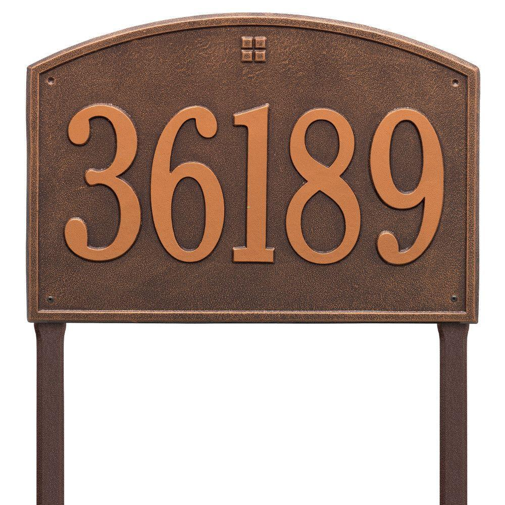 Cape Charles Rectangular Estate Antique Copper Lawn 1-Line Address Plaque
